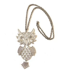 OWL Necklace Vintage Silver 1970s